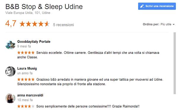 Recensioni Google+ B&B Udine