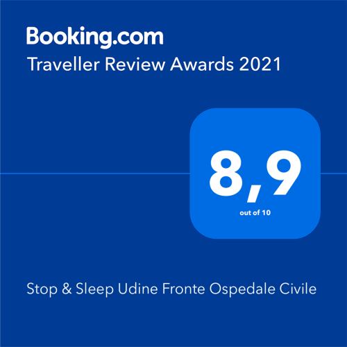 Premio di Booking Traveller Review Awards 2021 a Stop & Sleep Udine Fronte Ospedale